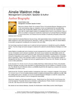 Ainslie Waldron MBA<br>Author Biography