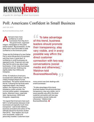 Poll: Americans Confident in Small Business