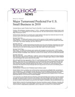 Major Turnaround Predicted for US Small Business in 2010